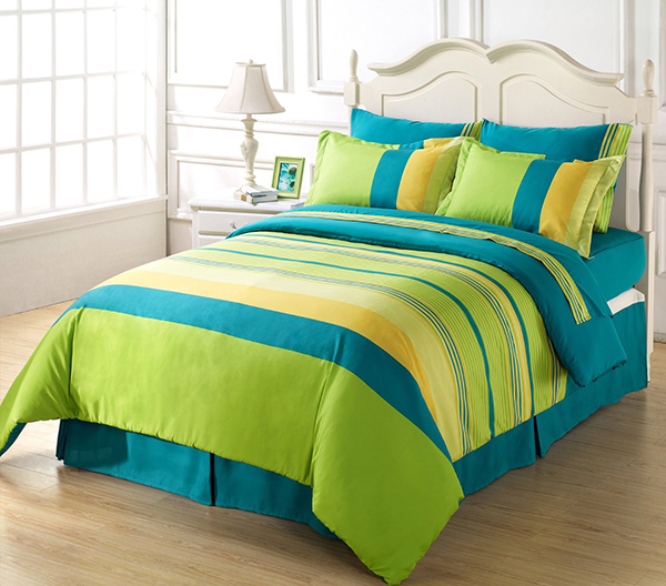 6-Piece Soft Blue Green Yellow Striped Duvet Cover