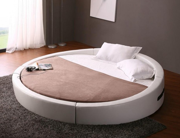 Opus – Modern Round Bed in White Leather
