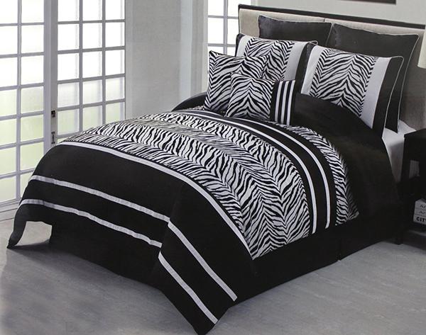 Flocking Zebra Comforter Bed