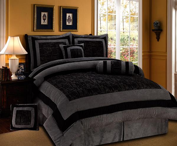 Gray Black Suede Torrin Comforter Set