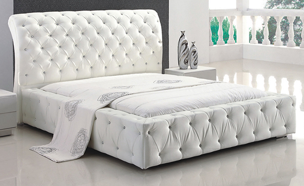 Diva White Upholstered Bed