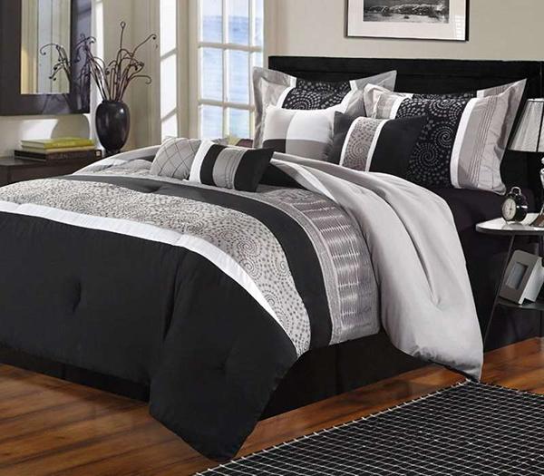 Euphoria Black & Grey Embroidered 8-Piece Comforter Set