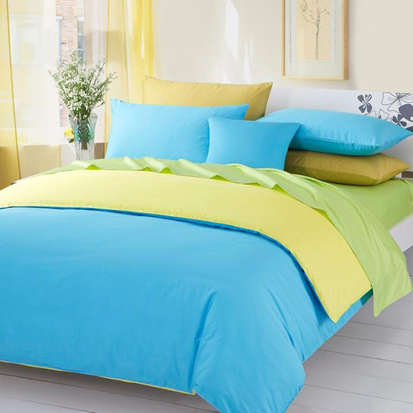 3Pieces Color Green-Yellow-Blue Solid Duvet Covers