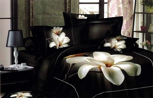 Black Bed Sheet Sets White Flower
