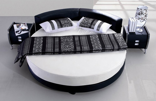 Modern Round Bed Upholstered in Black Leather
