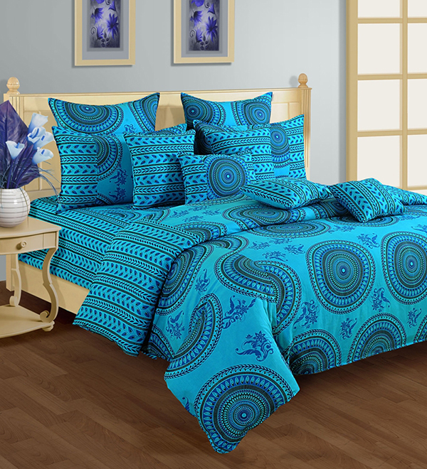 Blue Round Motif Duvet Cover