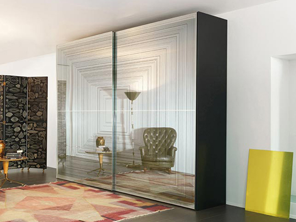 Screen Printed Glass Wardrobe with Sliding Doors
