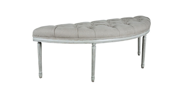 Tufted Linen French Bench