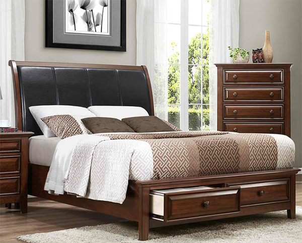 Homelegance Sunderland Storage Sleigh Bed in Medium Cherry - California King