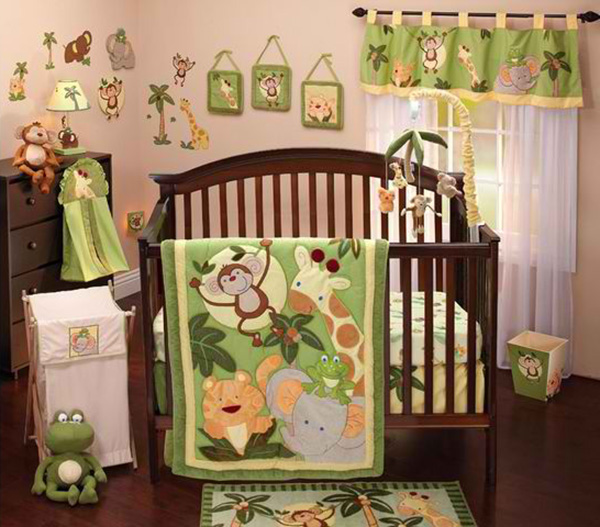 NoJo Jungle Babies 9-Piece Crib Bedding Set