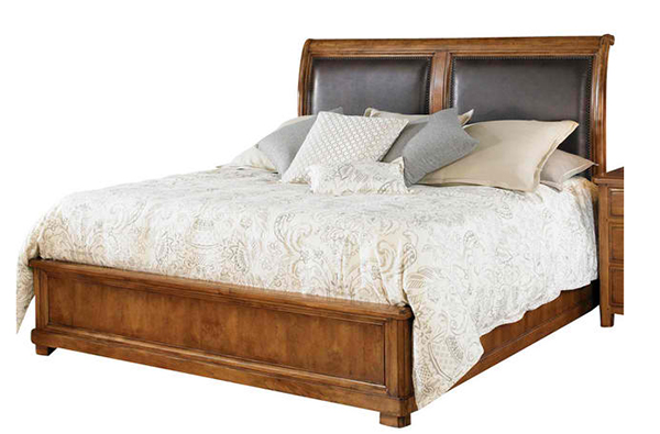 American Drew New River Estuary Sleigh Bed in Rustic Alder