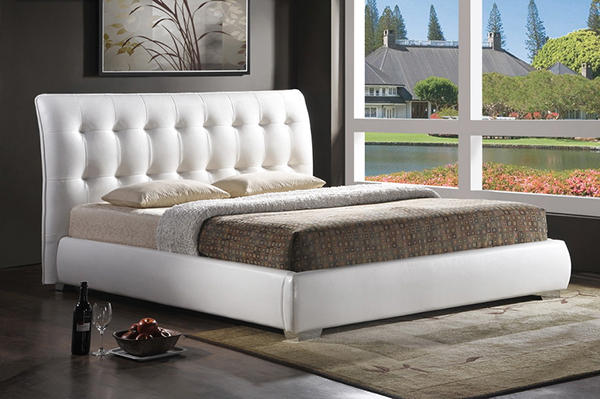 Jazmin Tufted White Modern Bed
