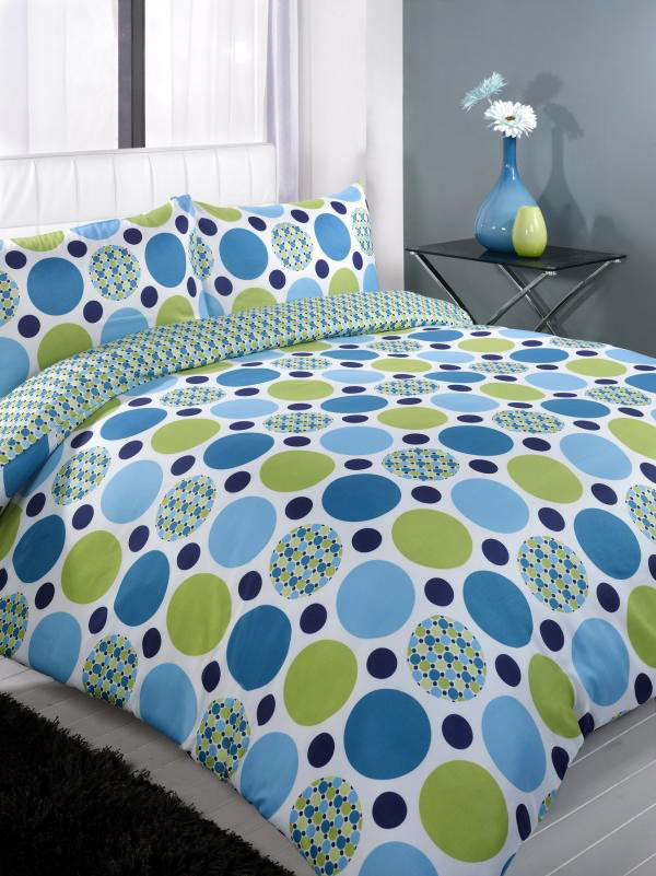 Jaz Blue Spots King Duvet Cover Bedding Set