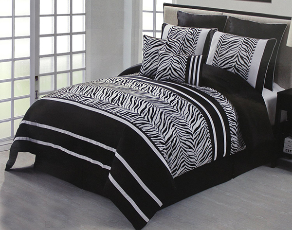 Flocking Zebra Comforter Bed
