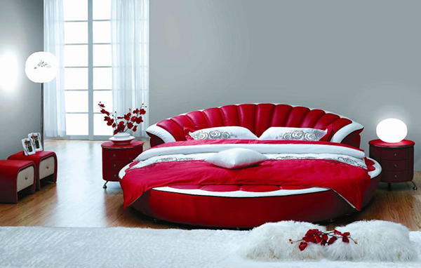 Popular Modern Leather King Size Round Bed