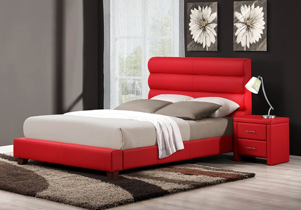 Red Bycast Vinyl Upholstered Bed