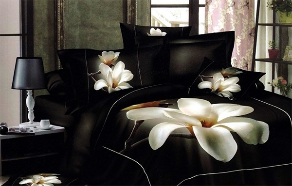 Black Bed Sheet Sets White Flower