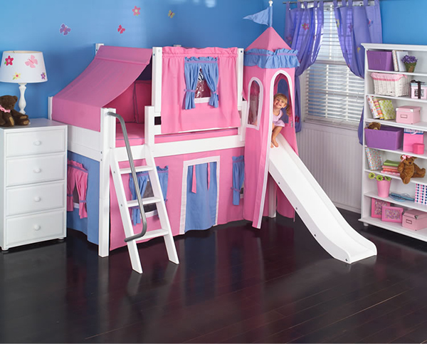 Hot Pink Princess Castle Bed with Slide
