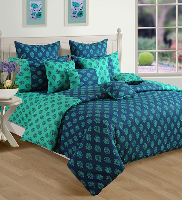 Dark Blue N Green Printed Duvet Cover