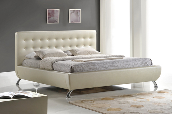 Elizabeth Pearlized Almond Modern Bed