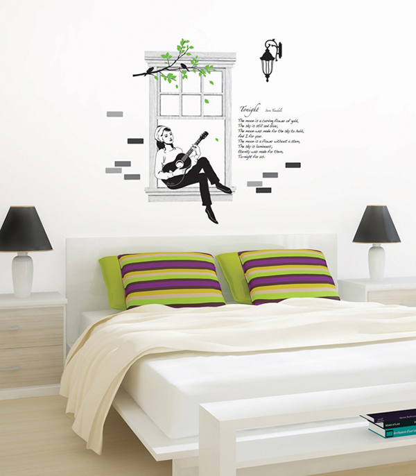 Audrey Windowsill Guitar Song Serenade Wall Stickers