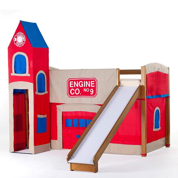 Firehouse Junior Loft with Slide - Pecan