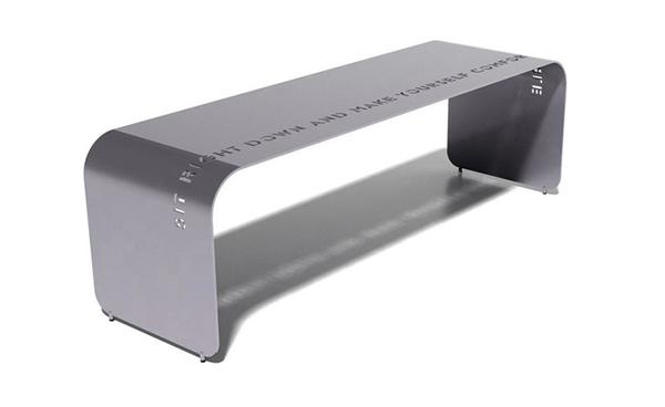 Botanist Epigram Bench, Anodized Silver Shimmer