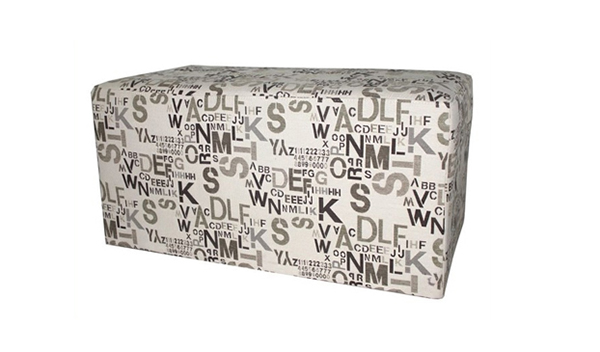 Fabric Ottoman Bench in Modern Alpha Letters