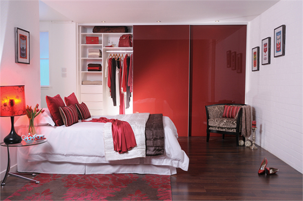 Red Glass Sliding Wardrobe