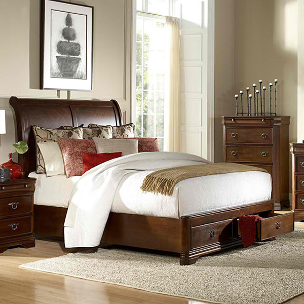 Homelegance Karla Platform Sleigh Bed w/ Storage Footboard in Brown Cherry