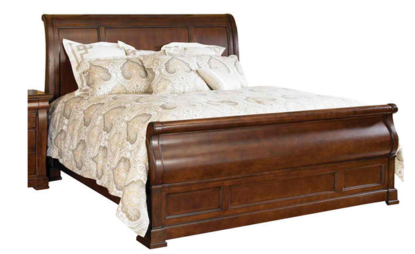 American Drew Laurel Springs Magnolia Sleigh Bed in Aged Bourbon