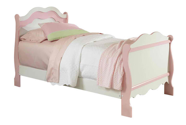 Standard Furniture Bubblegum Sleigh Bed in White & Pink - Twin